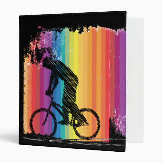 Graphic Ink Sketch of Cyclist on Rainbow Stripes Binder
