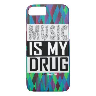 """Graphic iPhone 7 Phone Case """"Music is my drug"""""""