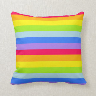Graphic kids rainbow stripes colourful pillow