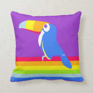 Graphic kids toucan rainbow colourful pillow throw pillow