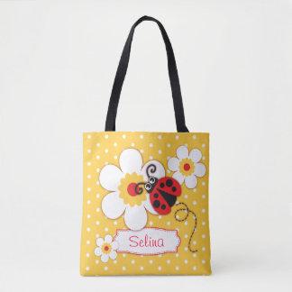 Graphic ladybug flowers girls name tote bag