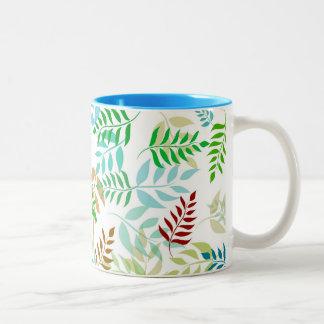 Graphic leaf patterned mug