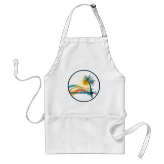 Graphic Logo of Palm Trees, Waves & Sun in Circle Adult Apron