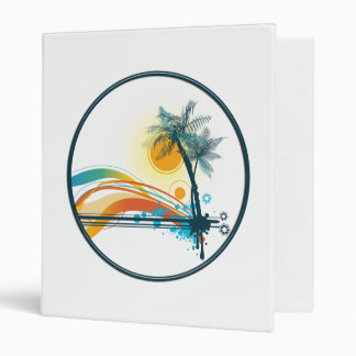 Graphic Logo of Palm Trees, Waves & Sun in Circle 3 Ring Binder