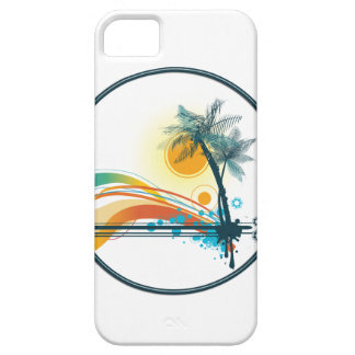 Graphic Logo of Palm Trees, Waves & Sun in Circle iPhone 5 Case