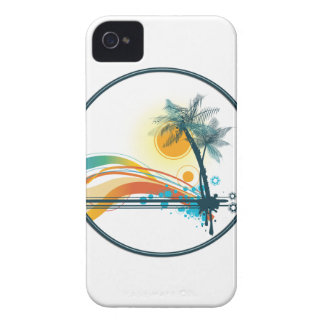 Graphic Logo of Palm Trees, Waves & Sun in Circle iPhone 4 Cover