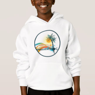 Graphic Logo of Palm Trees, Waves & Sun in Circle Hoodie