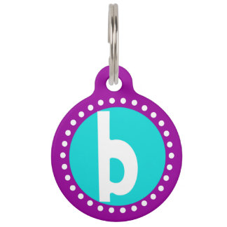 Graphic Lowercase Letter B Custom Initial Pet Tag