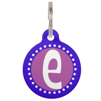 Graphic Lowercase Letter E Custom Initial Pet ID Tag
