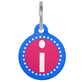 Graphic Lowercase Letter I Custom Initial Pet Tags