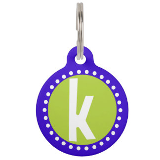 Graphic Lowercase Letter K Custom Initial Pet ID Tags