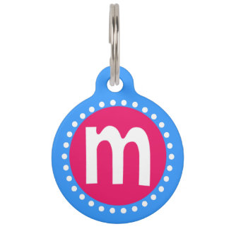 Graphic Lowercase Letter M Custom Initial Pet Name Tag