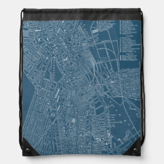 Graphic Map of Boston Drawstring Backpack
