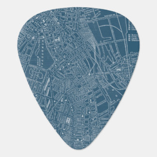 Graphic Map of Boston Guitar Pick