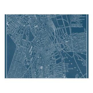 Graphic Map of Boston Postcard