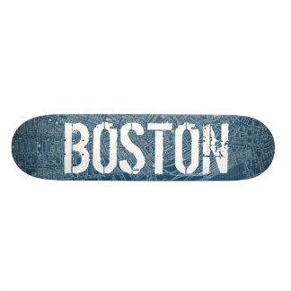 Graphic Map of Boston Skateboard Deck