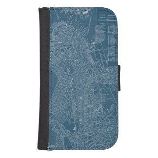 Graphic Map of Boston Wallet Phone Case For Samsung Galaxy S4