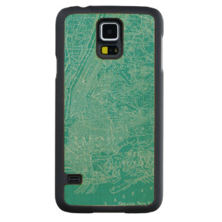 Graphic Map of New York Carved Maple Galaxy S5 Case