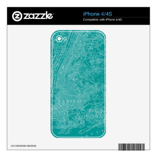 Graphic Map of New York Skins For iPhone 4