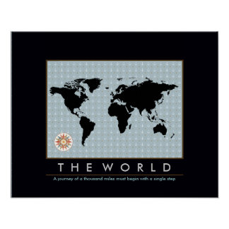 graphic map of the world print