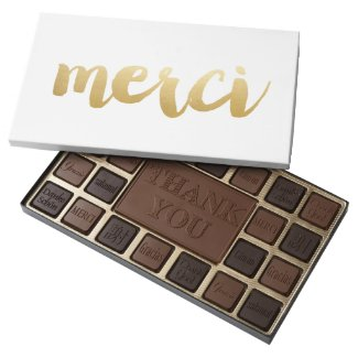 Graphic Merci Chocolate Box - Gold