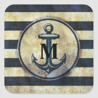 Graphic Metallic Anchor Monogrammed Sticker