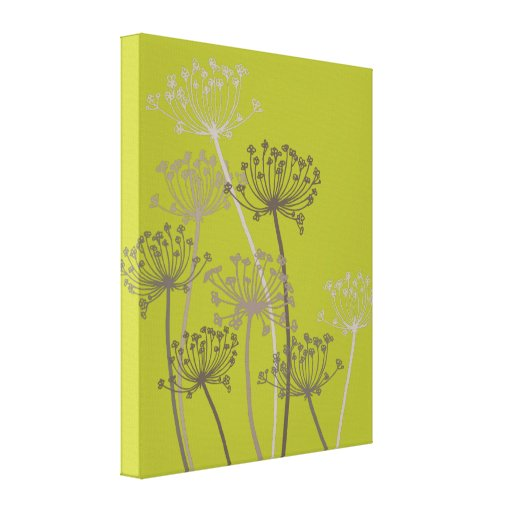 Graphic modern flower chervil green canvas print