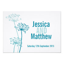 Graphic modern flower cows parsley wedding invite