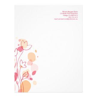 Graphic modern flower petals red letterhead