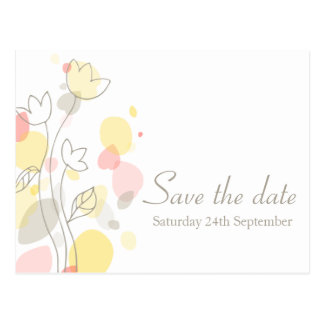 Graphic modern flower petals save the date card