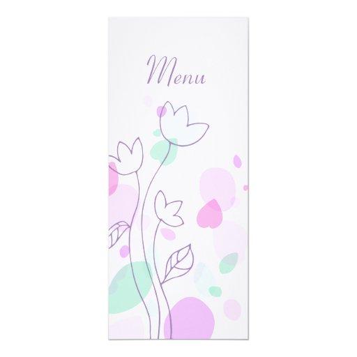 Graphic modern flower petals wedding dinner menu 4x9.25 paper invitation card