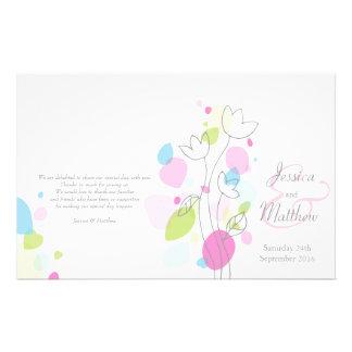Graphic modern flower petals Wedding Programme Flyer Design