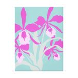 Graphic modern flower purple aqua orchid print stretched canvas print