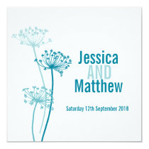 Graphic modern flower square teal wedding invite
