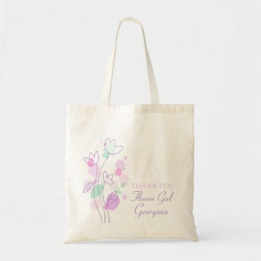 Graphic modern flower wedding flower girl bag