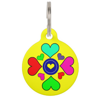 Graphic Multicolored Hearts Custom Pet Name Tag
