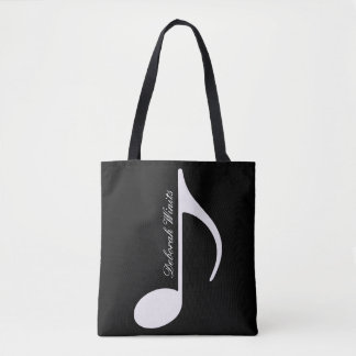 graphic musical note on black tote bag with name