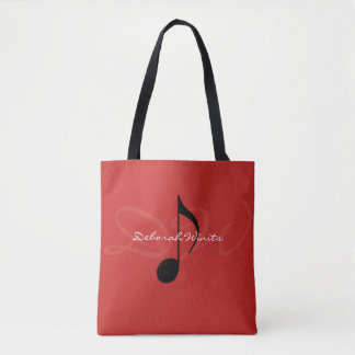 graphic musical note on red tote bag with name