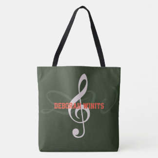graphic musical note with name on hunter green tote bag