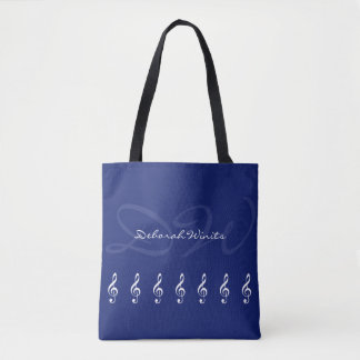 graphic musical notes with name on blue tote bag