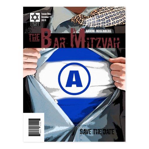 Graphic Novel Bar Mitzvah Save the Date Postcard