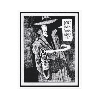 Graphic novel hero pointing a gun canvas print