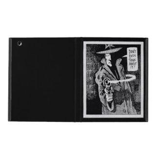 Graphic novel hero pointing a gun iPad cover