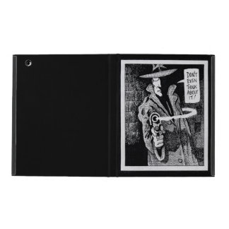 Graphic novel hero pointing a gun iPad folio case