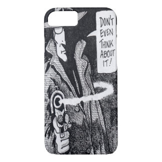Graphic novel hero pointing a gun iPhone 7 case