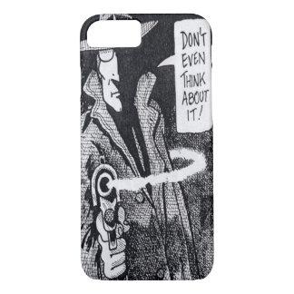 Graphic novel hero pointing a gun iPhone 8/7 case