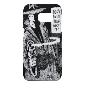 Graphic novel hero pointing a gun samsung galaxy s7 case