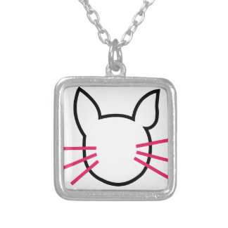 graphic of a cat square pendant necklace