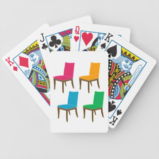Graphic of a dining chair bicycle playing cards