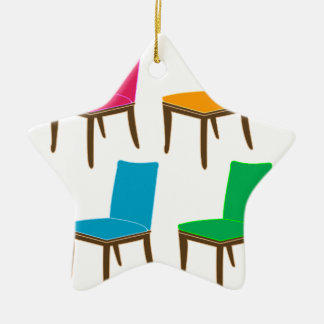 Graphic of a dining chair ceramic ornament
